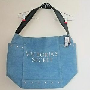 Victorias Secret Denim Tote Studded Spellout